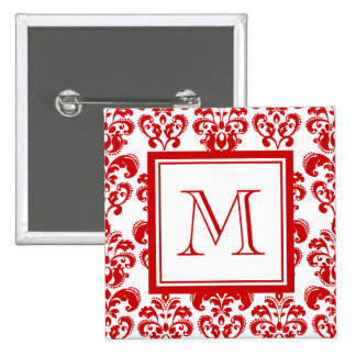 GIRLY RED DAMASK PATTERN 2 YOUR INITIAL PINS