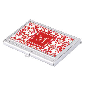 GIRLY RED DAMASK PATTERN 2 YOUR INITIAL BUSINESS CARD HOLDER
