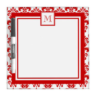 GIRLY RED DAMASK PATTERN 2 YOUR INITIAL DRY ERASE WHITEBOARDS