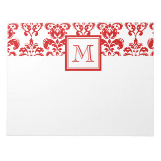 GIRLY RED DAMASK PATTERN 2 YOUR INITIAL NOTEPAD