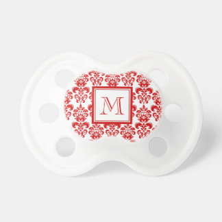 GIRLY RED DAMASK PATTERN 2 YOUR INITIAL PACIFIERS