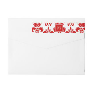 GIRLY RED DAMASK PATTERN 2 YOUR INITIAL WRAPAROUND RETURN ADDRESS LABEL