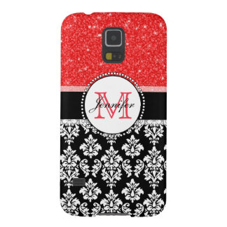 Girly, Red, Glitter Black Damask Personalized Case For Galaxy S5