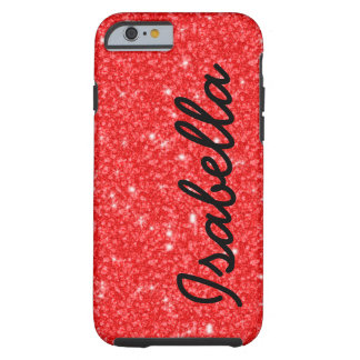 GIRLY RED GLITTER PRINTED PERSONALIZED TOUGH iPhone 6 CASE