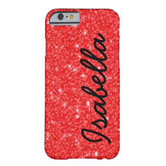 GIRLY RED GLITTER PRINTED PERSONALIZED BARELY THERE iPhone 6 CASE