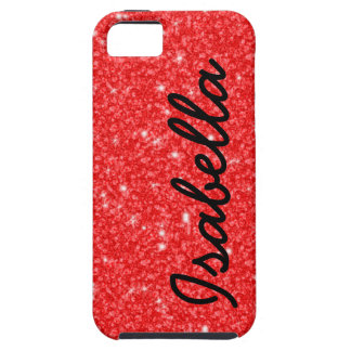 GIRLY RED GLITTER PRINTED PERSONALIZED iPhone 5 CASE