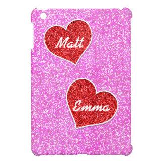 GIRLY rED HEART PINK GLITTER iPad Mini Cover