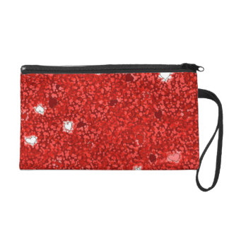 Girly red hearts glamour bagette wristlet