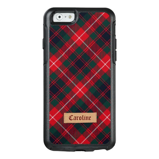 Girly Red Stewart Tartan with Stitched Name Label