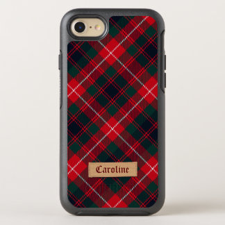 Girly Red Stewart Tartan with Stitched Name Label OtterBox Symmetry iPhone 8/7 Case
