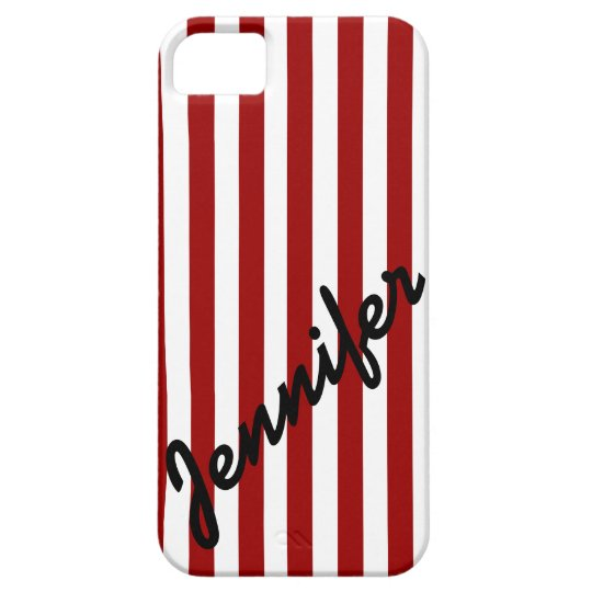 Girly, Red Stripes with Name iPhone 5 Case