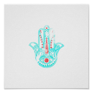 Girly red teal watercolor Hamsa Hand of Fatima Poster