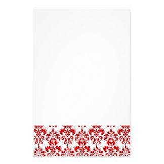 Girly Red White Vintage Damask Pattern 2 Stationery