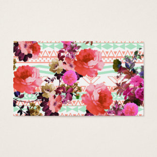 Girly Retro Floral Pink Mint Green Aztec Pattern Business Card