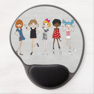 Girly Retro MOD Girl Gel Mouse Pad