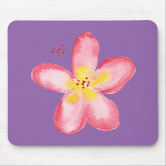 Girly Retro Pink Tropical Flower on Purple Mouse Mat
