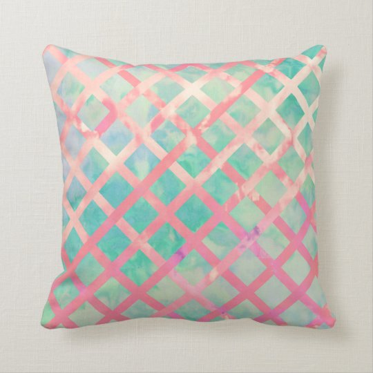 Girly Retro Turquoise Pink Watercolor Lattice Cushion