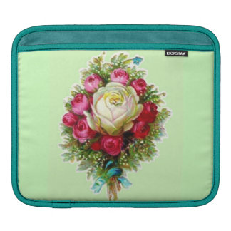 Girly Retro Vintage Floral Rose Wedding Bouquet Sleeves For iPads