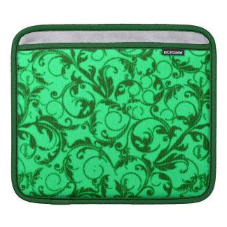 Girly Retro Vintage Swirls Lucky Emerald Green iPad Sleeves