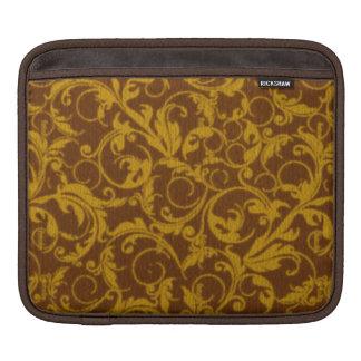 Girly Retro Vintage Swirls Topaz Brown Mustard Sleeve For iPads