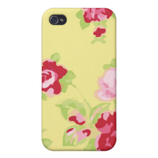 Girly Retro Yellow Floral Case For iPhone 4