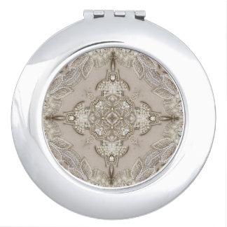 girly Rhinestone lace pearl glamorous Compact Mirror