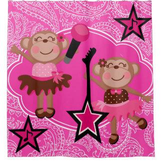 Girly Rock Star Monkeys Shower Curtain