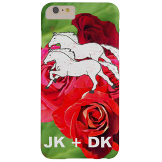 GIRLY ROMANTIC 2 HORSES IN FIELD OF ROSES MONOGRAM BARELY THERE iPhone 6 PLUS CASE