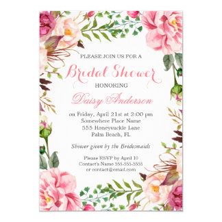 Girly Romantic Floral Wrap Wedding Bridal Shower Card