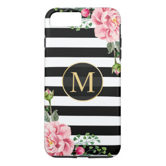 Girly Romantic Flower Black White Stripes Monogram iPhone 8 Plus/7 Plus Case