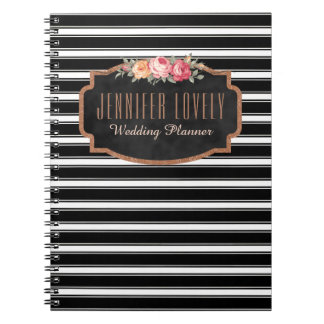 Girly Rose Gold B&W Stripes | Your Name Monogram Notebooks