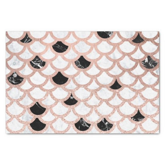 Girly rose gold black white marble scallop pattern