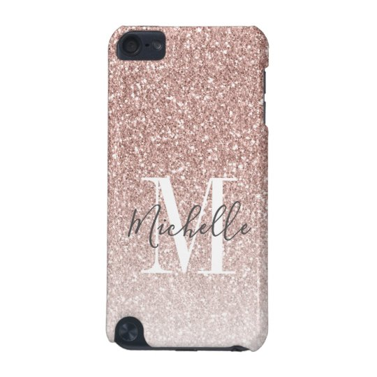 timeless design 5bdaa 6b4dd Girly Rose Gold Blush Pink Glitter Monogram Name iPod Touch (5th  Generation) Case
