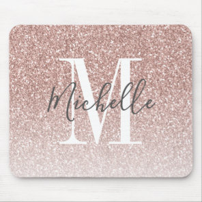 Girly Rose Gold Blush Pink Glitter Monogram Name Mouse Mat