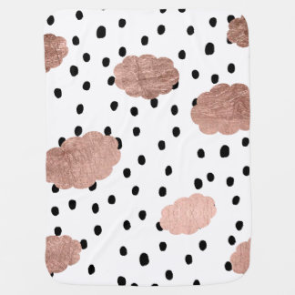 Girly rose gold clouds black rain polka dots baby blanket