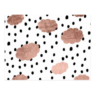 Girly rose gold clouds black rain polka dots postcard
