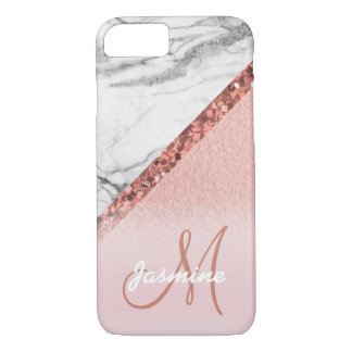 Girly Rose Gold Foil Glitter Gray Marble Monogram iPhone 8/7 Case