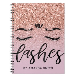Girly Rose Gold Glitter Appointment Notebook