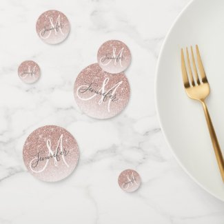Girly Rose Gold Glitter Blush Monogram Name Confetti