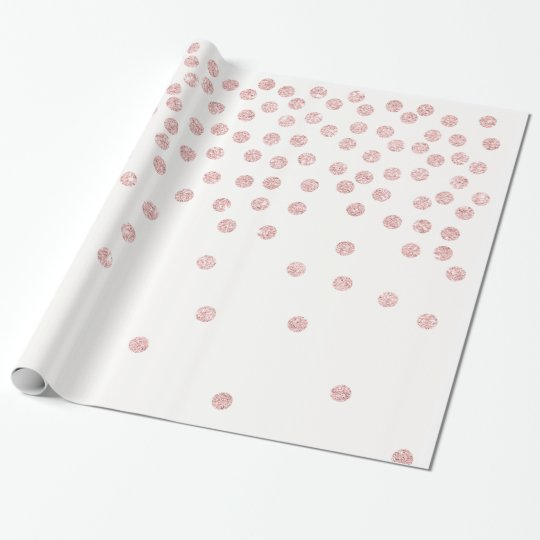 girly rose gold glitter confetti polka dots wrapping