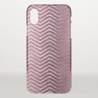 Girly rose gold  silver glitter chevron metallic iPhone x case