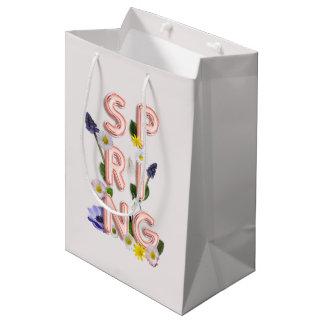 Girly Rose Gold Trendy Flower SPRING Typography Medium Gift Bag