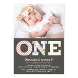 Girly Shabby Chic First Birthday Photo Invitation 13 Cm X 18 Cm Invitation Card