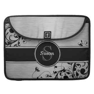 Girly Silver Black Floral Swirls Monogram Name Sleeve For MacBooks