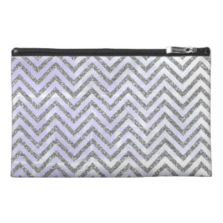 Girly Silver Chevron Blue Travel Accessory Bag