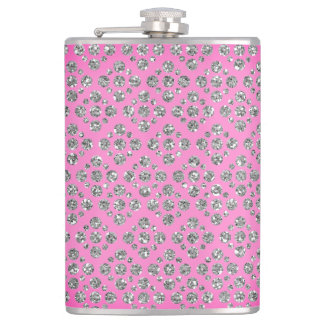 Girly Silver Dots Custom Pink/Mauve Flask