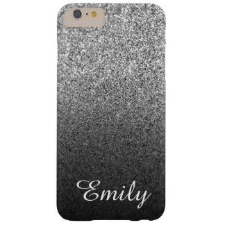 Girly Silver Glitter Black Ombre Personalized Barely There iPhone 6 Plus Case