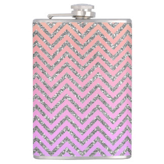Girly Silver & Pink Chevron Custom Teal Flask