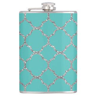 Girly Silver Quatrefoil Custom Teal Flask