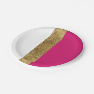 Girly Simple Gold Pink and White Color Blocks Paper Plate